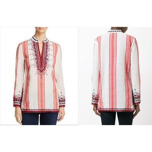 Tory Burch Embroidered Tory Tunic Stripe Top 6
